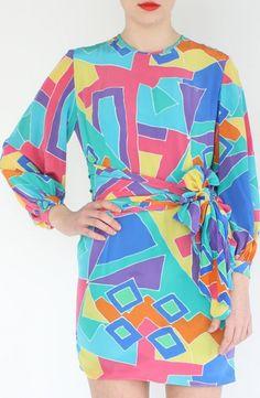 Multi-Colour Abstract Silk Dress