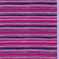 """ITY"" Fuschia Stripe Jersey Knit - Fabric By The Yard At Discount Prices"
