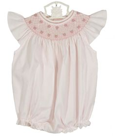 15e94dbf9b34 Feltman Brothers pink bishop smocked baby bubble with pearls and angel  sleeves