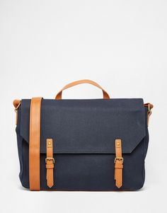 ASOS+Satchel+In+Washed+Navy+Canvas+With+Contrast+Trims