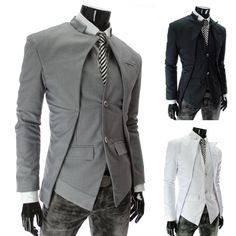 Free shipping 2013 top brand fashion men's suit jacket Slim asymmetrical design tuxedo jacket 3 color 4 size Business Suit-in Blazers from A...