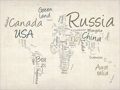 Writing Text Map of the World, Art Print on Etsy