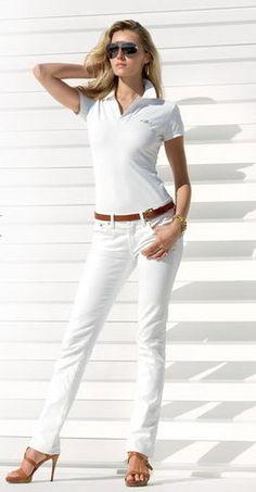 White polo shirt, white jeans