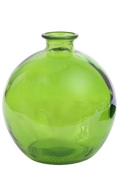 """6 3/4"""" Tall Lime Green Recycled Glass Ball Vase 66oz Made in Spain Best Price"""