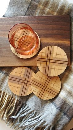 These are so pretty and perfect for the holidays! --- Wood Coasters,  Engraved Wood Coasters, Plaid,  Tartan  by GrainDEEP
