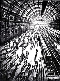 John Duffin: Etchings and Dry Points | Arrival (King's Cross St Pancras)