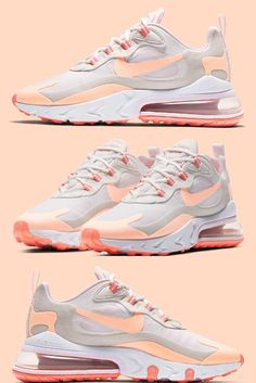 "Nike is releasing their Air Max 270 React model in a new white and ""Crimson Tint"" colorway. Nike Air Shoes, Nike Tennis Shoes, Nike Air Max, Jordan Outfits For Girls, Girl Outfits, Air Max 270, Travis Scott, Shoe Closet, Shoe Game"