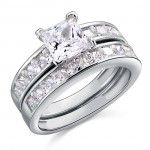 Sterling Silver 925 1ct Princess Cut Wedding Engagement Ring Set