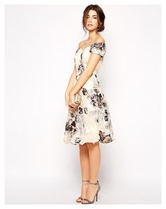 Chi Chi London Premium Oversize Mono Floral Midi Dress With Bardot Neck - was $98.53, now $49.27 (50% Off). Picked by mickster @ Asos.com