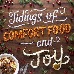 The Christmas holiday image features a pot roast from Denny's—classic comfort food. For the design, I used some of the ingredients of the pot roast meal to create the lettering: salt, carrots, and mashed potatoes with gravy. Food Typography, Typography Design, Creative Typography, Creative Desserts, Creative Food, Decoracion Vintage Chic, Food Graphic Design, Holiday Images, Holiday Cards