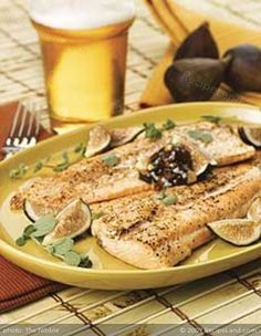 Wood-Grilled Trout with Mission Fig Butter Seafood Recipes, Paleo Recipes, Gourmet Recipes, Paleo Meals, Healthy Meals, Grilled Trout Recipes, Grilled Flounder, Flounder Recipes, Cooking Trout