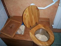 Composting Toilet -It is in the bathroom attached to my room and is completely odor free in case you don't know how they work, like I didn4t a few hours ago, it is a veey simple process you take wood shavings from the compartment on the back and cover whatever you deposit in the toilet. When that container is full it is removed and added to the compost outside. Very simple clean and odor free and no wasted water.