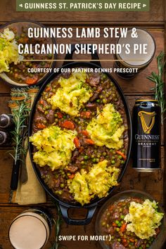 The countdown to St. Patrick's Day continues with Guinness! As you're prepping what to wear (we hope it's green) and what to drink (we hope it's a Guinness), don't forget what to eat! Try this delicious recipe for Guinness Lamb Stew & Colcannon Shepherd's Irish Recipes, Lamb Recipes, Dinner Recipes, Cooking Recipes, Healthy Recipes, Lamb Stew, Good Food, Yummy Food, Dieta Detox