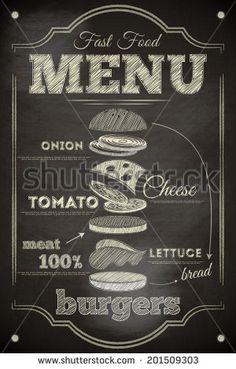 Burger Menu Poster on Chalkboard Hamburger Ingredients Vector Illustration