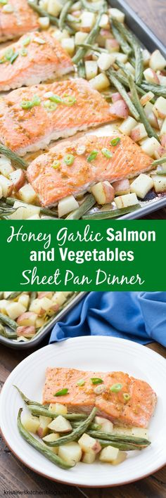 *sauce 30 Minute Honey Garlic Salmon and Vegetables Sheet Pan Dinner. An easy one-pan weeknight meal that you can customize to your liking! Salmon Recipes, Seafood Recipes, Mexican Food Recipes, Fish Recipes, Garlic Salmon, Baked Salmon, One Pot Meals, Food For Thought, Healthy Dinner Recipes
