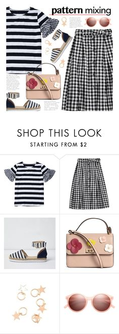 """""""Stay Bold: Pattern Mixing"""" by beebeely-look ❤ liked on Polyvore featuring River Island, H&M, stripes, preppy, gingham, patternmixing and zaful"""