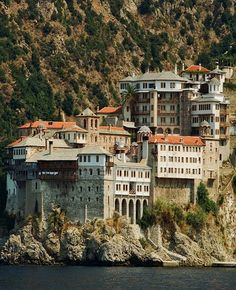 Holy Monastery of Saint Gregory, Mount Athos Beautiful Places To Visit, Great Places, Saint Gregory, The Holy Mountain, Regions Of Europe, Thessaloniki, India Travel, Beautiful Islands, Castle