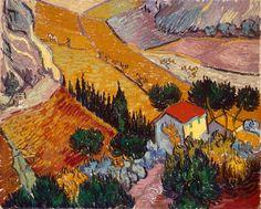 Van Gogh, paesaggio con casa e plowman, ottobre 1889. Olio su tela, 33 x 41.4 cm. Il Museo Statale dell'ermitage, st. Pietroburgo.