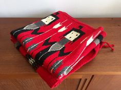 Red Native American Navajo Yei Wool Textile / Red, Black, White, Grey Wall Hanging, Throw, or Rug / Handmade American Indian Fiber Art This is a