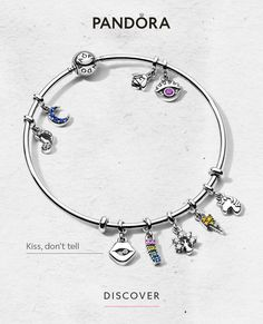 Pandora Jewelry OFF!>> Express yourself! The Pandora Me bangle with the colourful micro dangle charms is everything. Stack like a pro and add your own meaning – that's what we call levelling up in style. Pandora Charms Disney, New Pandora, Pandora Bracelet Charms, Pandora Jewelry, Charm Jewelry, Jewelry Art, Jewelry Accessories, Jewelry Design, Charm Bracelets