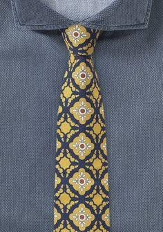 Gelb-dunkelblaue Krawatte mit Ornament-Pattern