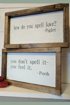 Rustic farmhouse inspired Pooh and Piglet framed wood sign SET, farmhouse sign, rustic sign, farmhouse decor, rustic decor, nursery decor #ad #DIYHomeDecorFrames