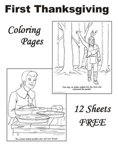 Coloring pages of Pilgrims Thanksgiving for Kids Pinterest
