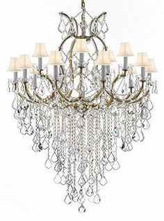 """Maria Theresa Chandelier Empress Crystal (Tm) Lighting Chandeliers H50"""" X W37"""" With White Shades! Great For Large Foyer / Entryway! - A83-B12/Sc/Whiteshades/21510/15+1"""