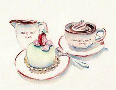 "Paris miniature desserts  | Angelina Dessert , original watercolor, 9"" x 11"""