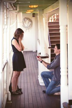 A man on one knee proposes to a woman, who has her hand over her mouth, while on board the Mark Twain Riverboat at Disneyland Resort. Disney Engagement Rings, Disney Wedding Rings, Disney Rings, Disney World Wedding, Disney Jewelry, Disney Weddings, Disneyland Proposal, Disneyland Resort, Disney Dream
