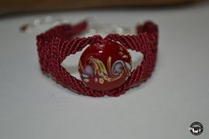 Beautiful Deep Red Micro Macramé Bracelet by ShantyCreekCreations