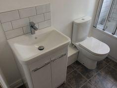 bathroom splashback Cloakroom Vanity Unit with Metro Tiles as Backsplash by UK Bathroom Guru Small Downstairs Toilet, Small Toilet Room, Downstairs Cloakroom, Washroom, Fitted Bathroom, Simple Bathroom, Bathroom Ideas, Bathroom Stuff, Family Bathroom