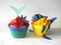 The Little Mermaid Inspired Cupcakes Wrappers and Topper Set - Fox Tail Printables