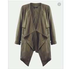 Draped Green Jacket Brand new, never been worn with tags. Size XS but it runs a bit too big for my petite size. The second picture is its color. open to reasonable offers. Jackets & Coats