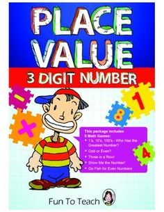 Grades K-3    Place Value with 3 Digit Numbers - Games and Lesson Plans  This 24-page game packet contains 4 great place value games/activities.   We have also included Homework and Assessment activities.  Reproducible black lines included in this package unclude a  variety of games-Complete game boards and game cards-Activity black line masters-Assessment -Activities to send home-Easy to use ...$