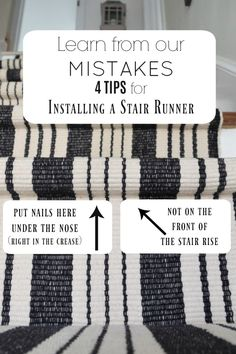 Learn from our Mistakes when installing a Stair Runner - Nesting With Grace Staircase Runner, Stair Railing, Basement Stairs, Basement Ideas, Basement Bathroom, Basement Plans, Basement Storage, Stair Storage, Basement Subfloor