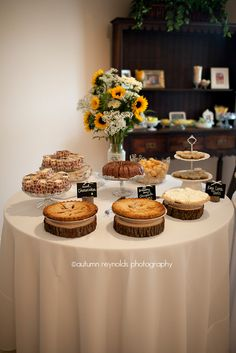 Counrty Chic  Rustic wedding dessert buffet - She wanted a dessert buffett of all their favorite sweets! Yum! - The Country Abbey
