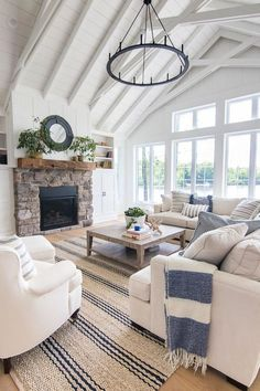 Craftsman Home Interior Lake House Blue and White Living Room Decor - The Lilypad Cottage.Craftsman Home Interior Lake House Blue and White Living Room Decor - The Lilypad Cottage Coastal Living Rooms, My Living Room, Living Room Interior, Home And Living, Modern Living, Living Room Decor Blue, Cottage Style Living Room, White Living Room Furniture, Small Living