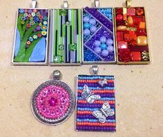 Mosaic Pendant examples for Creative Glass Guild workshop by Christine Bell