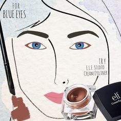 The best liner for my blue eyes: ELF Studio Cream Eyeliner in Copper! Diy Beauty Makeup, Pretty Eye Makeup, Simple Eye Makeup, Blue Eye Makeup, Eye Makeup Tips, Pretty Eyes, Beauty Tips, Makeup Style, Beauty Secrets