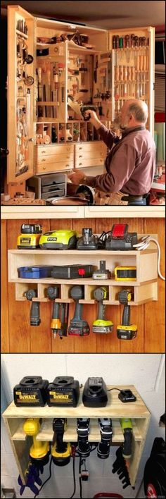 clever idea on how to organize and store the tools in your workshop Rangement de Garage Tool Storage Ideas Workshop Storage, Workshop Organization, Shed Storage, Garage Workshop, Garage Organization, Garage Storage, Diy Workshop, Craft Storage, Workshop Cabinets