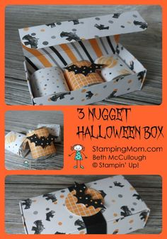 Stampin Up 3 Nugget Halloween Box designed by demo Beth McCullough. It ha directions link Diy Halloween, Halloween Treat Holders, Halloween Favors, Halloween Goodies, Halloween Projects, Holidays Halloween, Halloween Treats, 3d Projects, Halloween Night