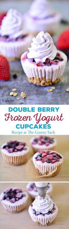 Double Berry Frozen Yogurt Cupcakes   thegunnysack.com