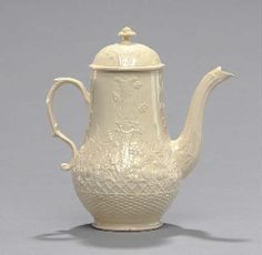 A STAFFORDSHIRE (WILLIAM GREATBATCH) CREAMWARE COFFEE-POT AND COVER
