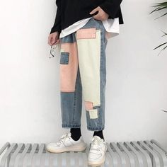 Aesthetic Clothing Stores, Aesthetic Clothes, Aesthetic Art, Aesthetic Grunge, Retro Outfits, Cool Outfits, Grunge Outfits, Denim Pants Mens, Pants For Men