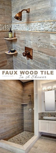 "11. Faux Wood on The Walls It's almost upsetting to see ""wood"" in a shower stall, until you realize it's just tile! I love just about anything with a rustic design, especially the combination of wood and stone. Whenever I think of the faux wood tile, I imagine it on the floor, but it's simply striking on a wall or shower! I'll bet it would even look cool as a kitchen backsplash paired with white cabinetry and clean, simple countertops."