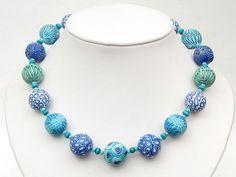 Nautilus handgefertigte Kette aus extra großen von polymerdesign, $75.00  big Clay beads in watercolors, Fimoperlen, polymer clay cephalopod beads necklace