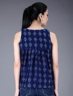 Indigo Natural Dyed Dabu Printed Pleated Chanderi Top by Jaypore Short Kurti Designs, Simple Kurta Designs, Kurti Neck Designs, Kurta Designs Women, Kurti Designs Party Wear, Blouse Designs, Cotton Dresses Online, Fancy Tops, Casual Tops For Women