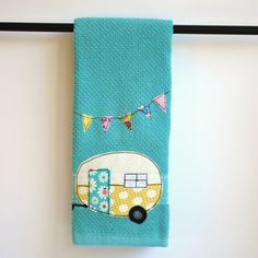 Vintage Camper Trailer Tea Towel by CreativeJunkee on Etsy, $16.00