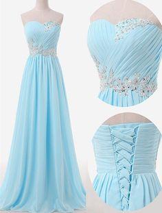Chiffon Bridesmaid Dress with Beading,Classic A-Line Bridesmaid Dress,Sweetheart Floor Length Prom Dress,Sky Blue Bridesmaid Dress,Sleeveless Prom Dress